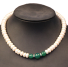 Noble Graceful Natural White Freshwater Pearl & Green Agate Beads Necklace