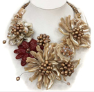 Fantastic Statement Brown Series Natural Pearl Shell Flower Party / Wedding Necklace