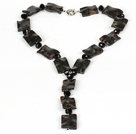 Wholesale Black Crystal and Red Jasper Necklace with Moonlight Clasp