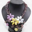 Graceful Light Purple Crystal Beads Multi Color Flower Party Necklace
