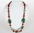 Medium Necklace Assorted Agate Necklace with Jade Clasp
