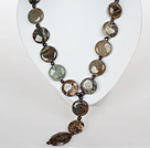 Snake Skin Agate and Black Pearl Necklace with Moonlight Clasp