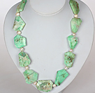 Wholesale Chunky Necklace White Pearl and Green Opal Necklace