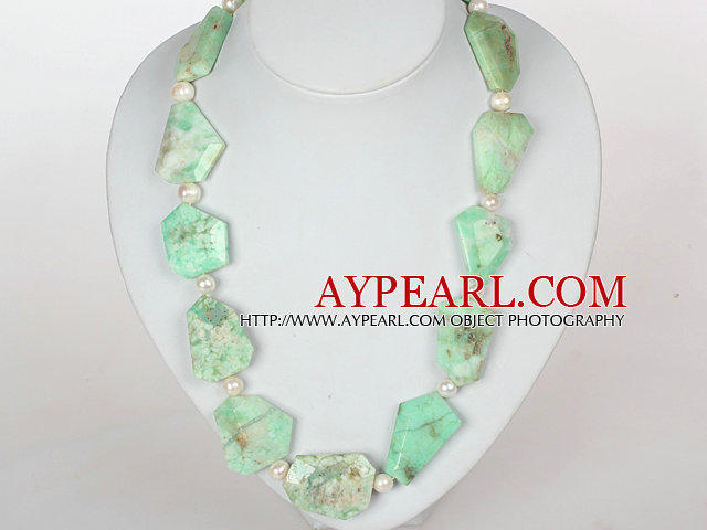 Chunky Necklace White Pearl and Green Opal Necklace