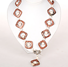 Wholesale White Pearl and Pink Picture Jasper Stone Necklace