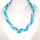 Wholesale Double Strands White Pearl and Blue Jade Necklace with Heart Clasp