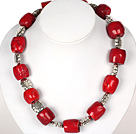 Drum Shape Red Coral Necklace with Tibetian Silver Flower Accessories