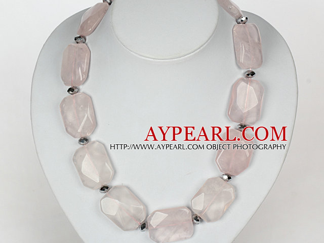 Chunky Necklace Big Rose Quartz Stone Necklace with Moonlight Clasp