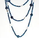Long Necklace White Pearl and Faceted Blue Agate Beads Necklace