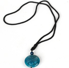 Wholesale Round Hand Carved Blue Agate Pendant Necklace with Black Cord