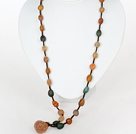Long Style Necklace Natural Alashan Agate With Brown Thread