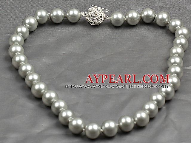 Fashion Single Strand 12Mm Mid Grey Round Seashell Beads Necklace With Rhinestone Magnetic Clasp