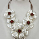 Fantastic Statement White Shell Flower Clear and Brown Crystal Party / Wedding Necklace