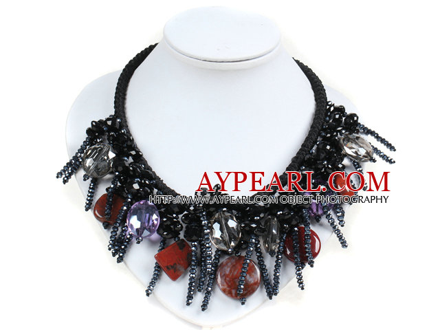 Fantastic Sparkly Multi Color Crystal Red Jasperm Hand-Knitted Party Necklace