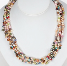 6-7mm Natural Mixed Color Freshwater Pearl Beaded Necklace with Moonlight Clasp