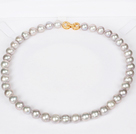 10-11mm Natural Round Gray Freshwater Pearl Beaded Necklace for Women