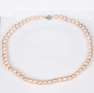 8-9mm Natural Round Pink Freshwater Pearl Beaded Necklace for Women
