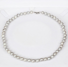8-9mm Natural Round Gray Freshwater Pearl Beaded Necklace for Women