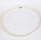 7-8mm Natural Round White Freshwater Pearl Beads Necklace for Women