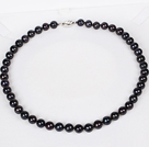 8-9mm Natural Round Black Freshwater Pearl Beaded Necklace for Women