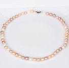 6-7mm Natural Round White and Pink and Purple Freshwater Pearl Beaded Necklace for Women