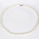 6-7mm Natural Round White Freshwater Pearl Beaded Necklace for Women