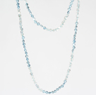 Long Necklace Jewelry 6-7mm Light Blue Pearl Crystal Necklace