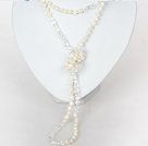 6-7mm Natural White Pearl and Clear Crystal Long Necklace