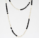 Wholesale Long Style Necklace 6-7mm White Pearl and Black Crystal Beads Necklace