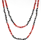 Long Necklace for Women 6-7mm Black Pearl and Red Crystal Necklace