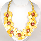 Wholesale Yellow Color Crystal and Shell Flower Party Necklace