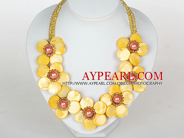 Yellow Color Crystal and Shell Flower Party Necklace