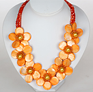 Orange Yellow Color Crystal and Shell Flower Party Necklace