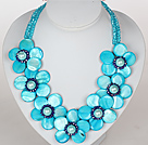 Wholesale Sky Blue Color Crystal and Shell Flower Party Necklace