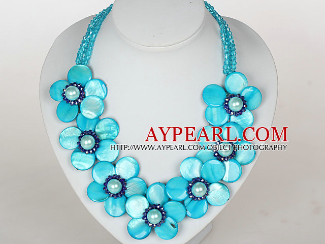 Sky Blue Color Crystal and Shell Flower Party Necklace