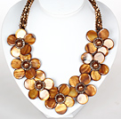 Brown Color Crystal and Shell Flower Party Necklace
