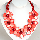Vattenmelon Red Color Crystal och Shell Flower Party halsband