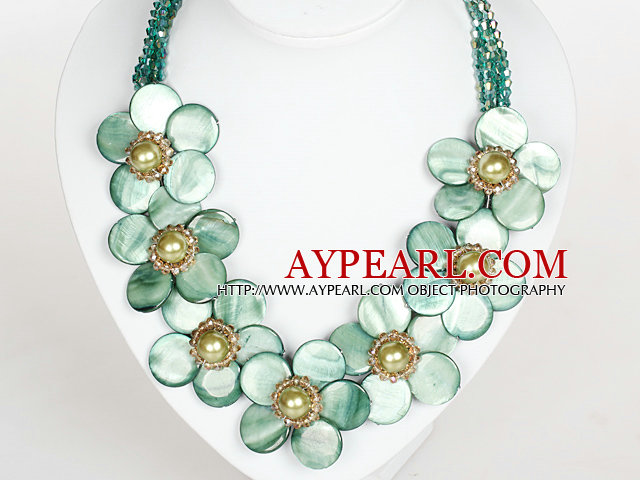 Light Green Color Crystal and Shell Flower Party Necklace