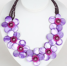 Wholesale Purple Color Crystal and Shell Flower Party Necklace