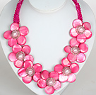 Hot Pink Color Crystal and Shell Flower Party Necklace