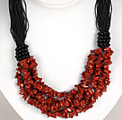 Bold Necklace Multi Strands Red Jasper Chips Necklace