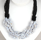 Bold Necklace Multi Strands Purple Agate Chips Necklace