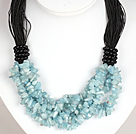 Bold Necklace Multi Strands Aquamarine Chips Necklace