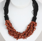 Bold Necklace Multi Strands Golden Sandstone Chips Necklace