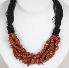 Bold Necklace Multi Strands Golden Sandstone Chips Necklace