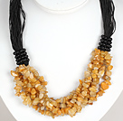Bold Necklace Multi Strands Yellow Jade Chips Necklace
