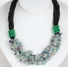 Bold Necklace Multi Strands Rainbow Fluorite Stone Chips Necklace