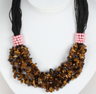Bold Necklace Multi Strands Tiger Eye Chips Necklace