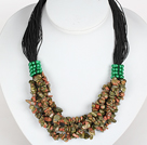 Wholesale Bold Necklace Multi Strands Green Piebald Stone Chips Necklace