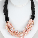 Wholesale Bold Necklace Multi Strands Pink Opal Chips Necklace